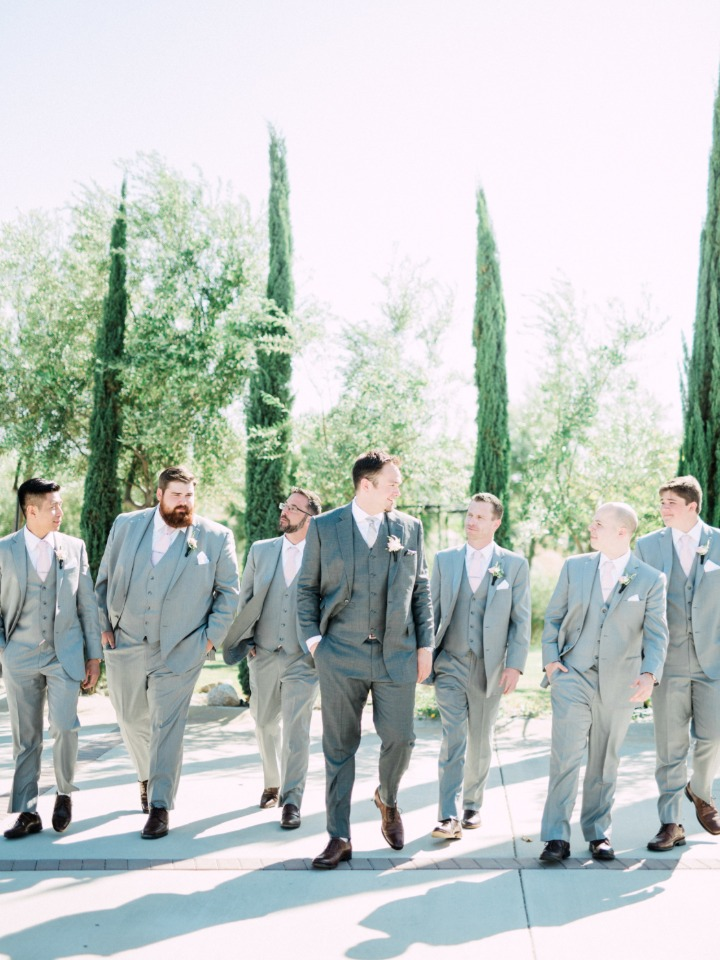 groom and and his men in grey and blush pink ties