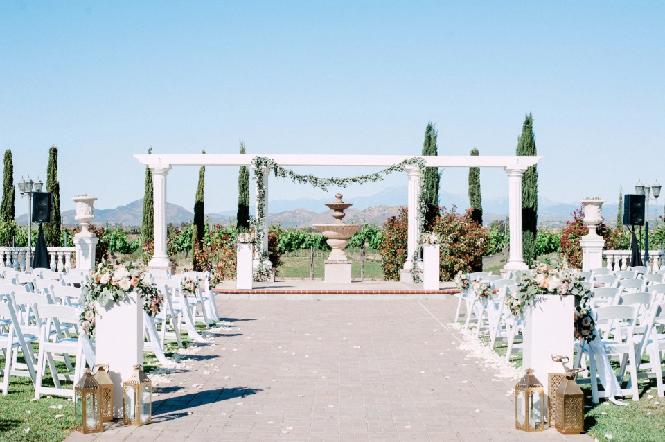 romantic and outdoor wedding ceremony