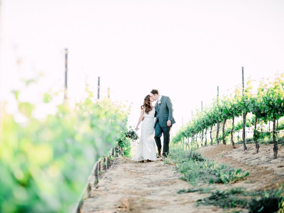 sweet bride and groom vineyard photo session