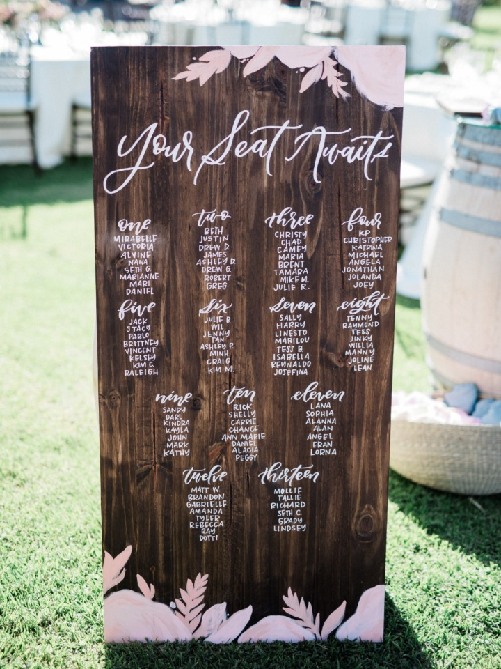 your seat awaits wedding seating assignment display