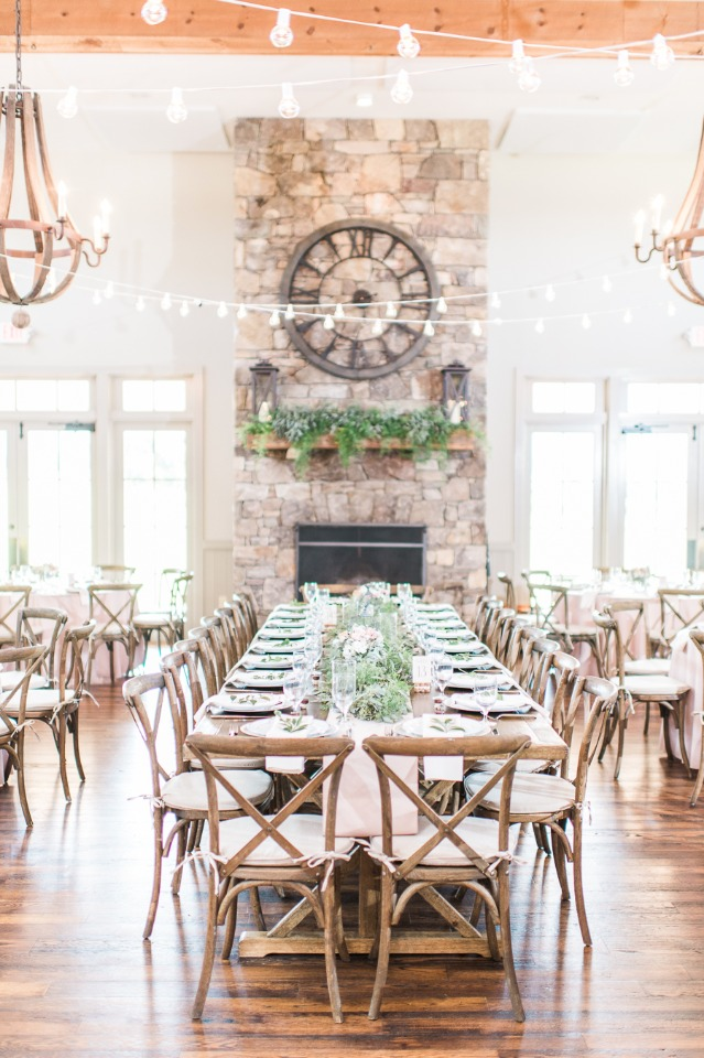 Gorgeous indoor reception with natural elements