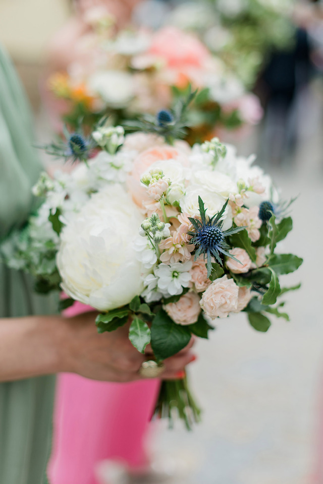 gorgeous white and pink bridesmaid bouquets