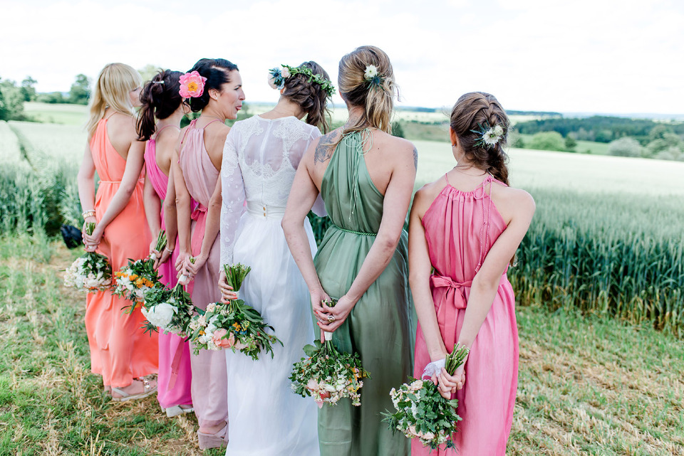 colorful bridesmaid dresses made by the bride