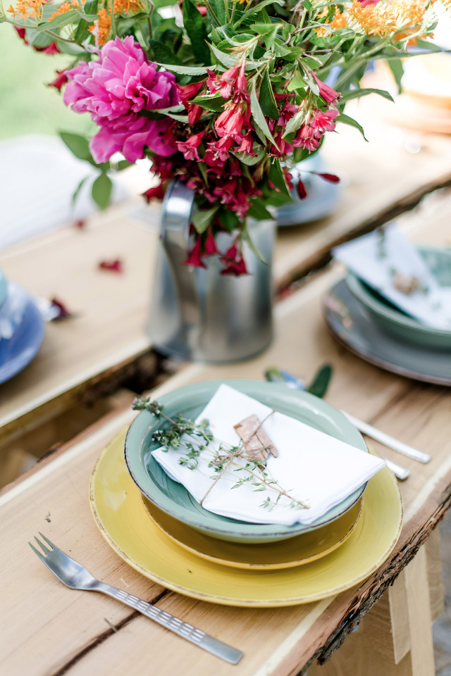 mix match colorful wedding place setting