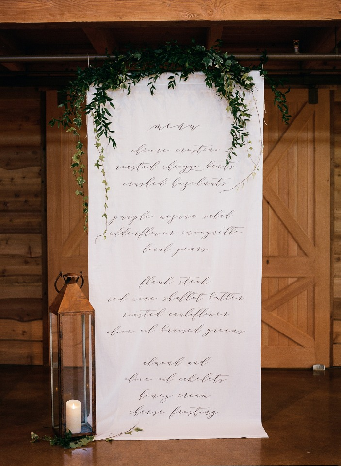giant wedding menu idea