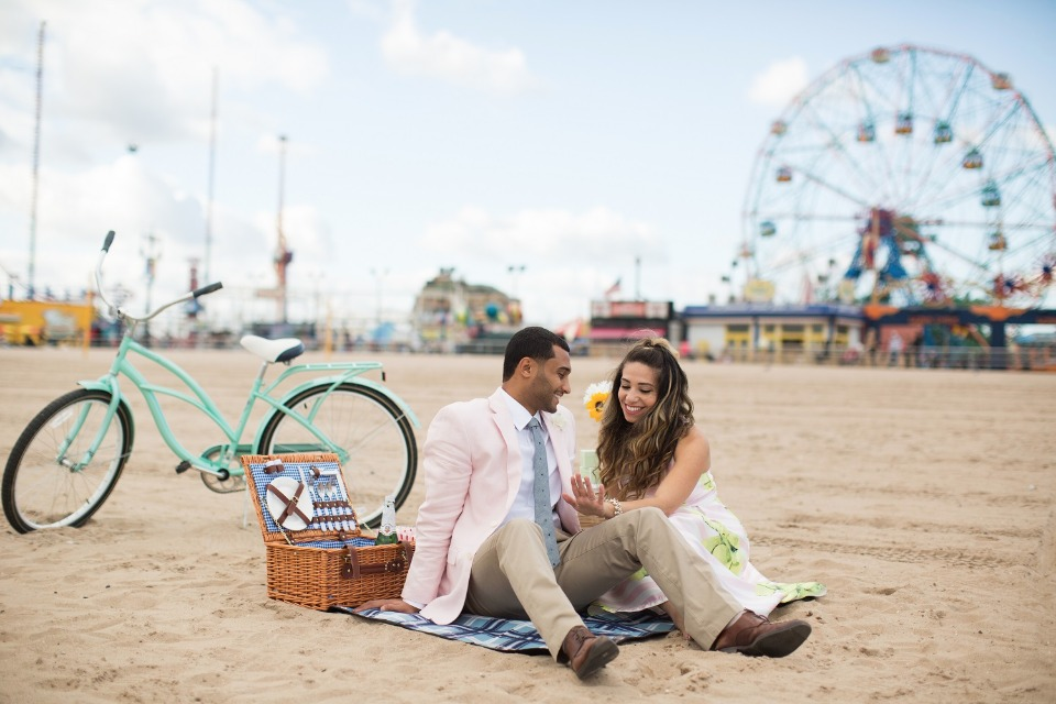 Picnic on the beach at Coney Island