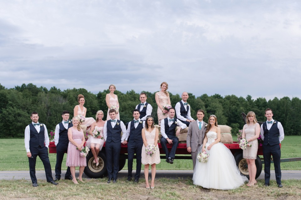 wedding party in blush and navy