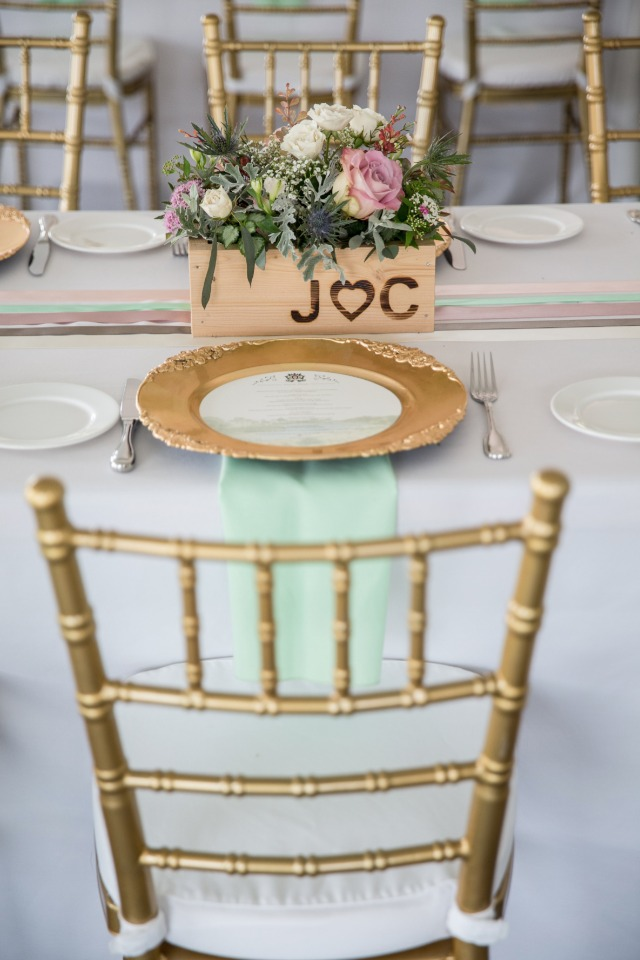 mint and gold wedding reception
