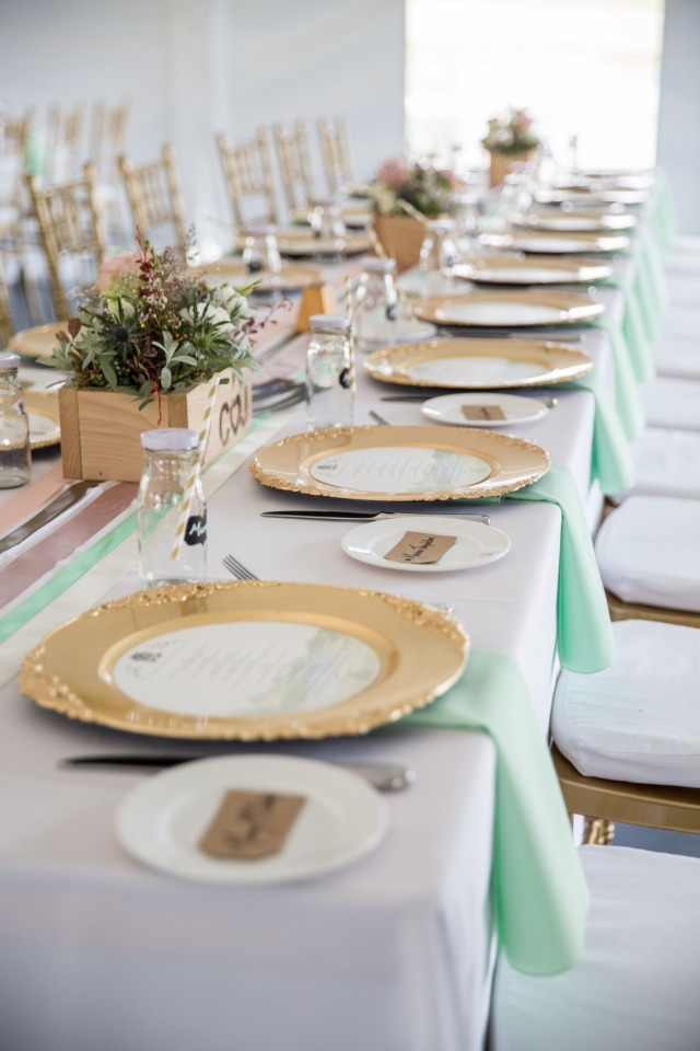 mint and gold family style seating