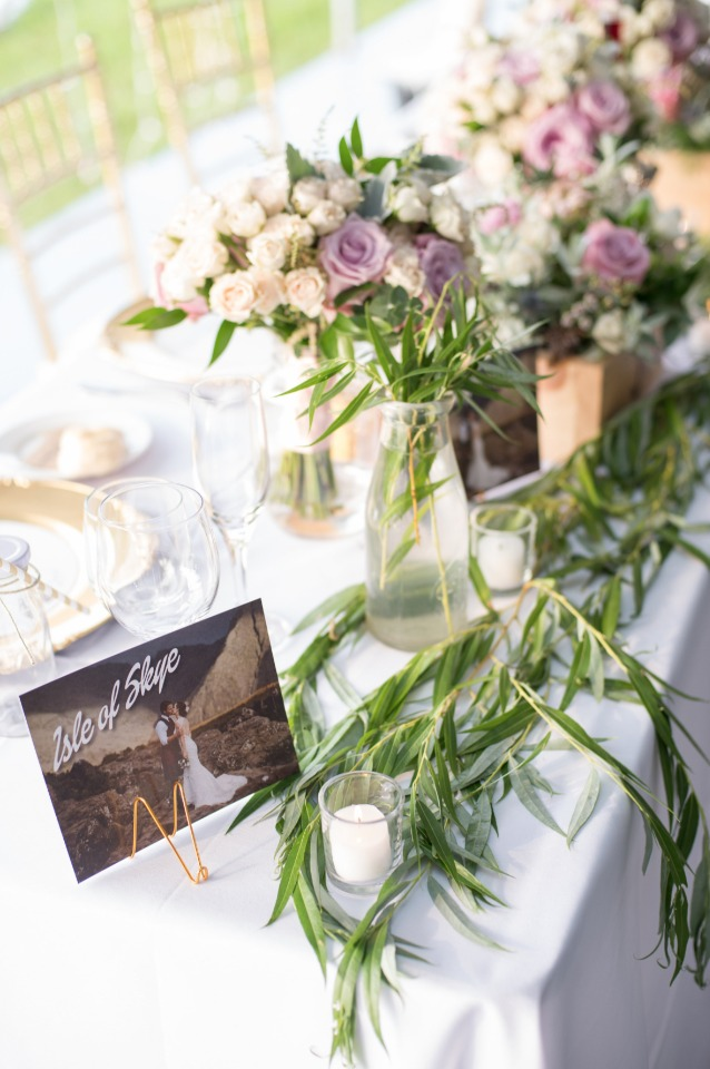 tables named after bride and grooms travels