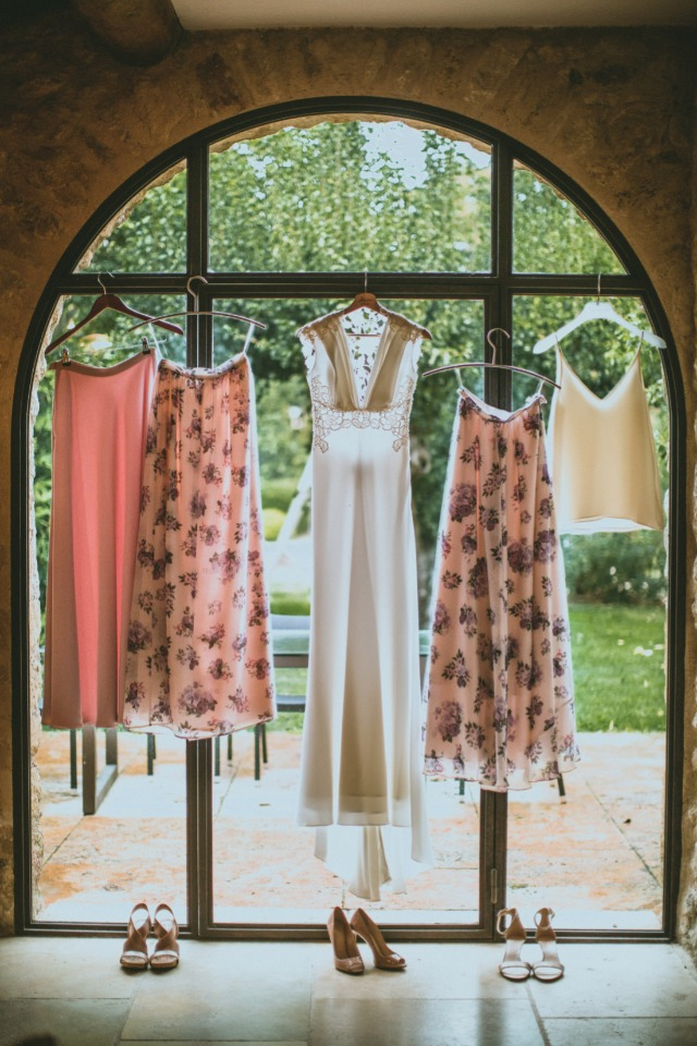 light pink and floral print bridal party