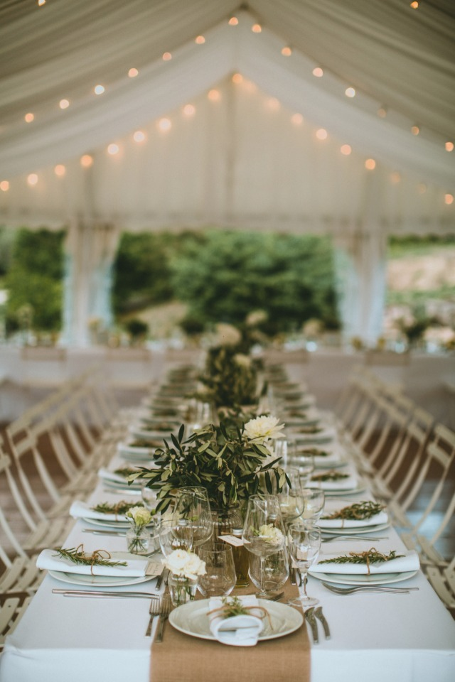 green white and neutral colors for this elegant reception space