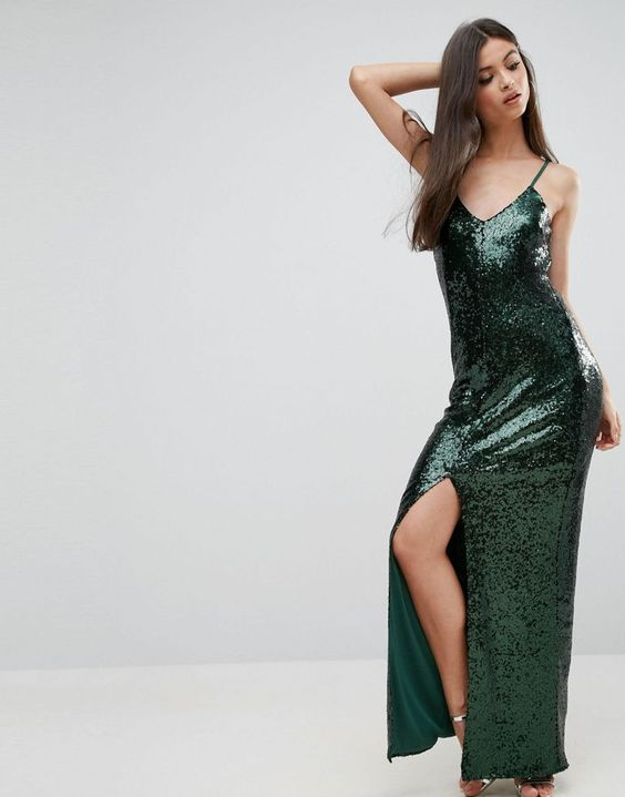 Naanaa Petite Allover Sequin Cross Back Maxi Dress