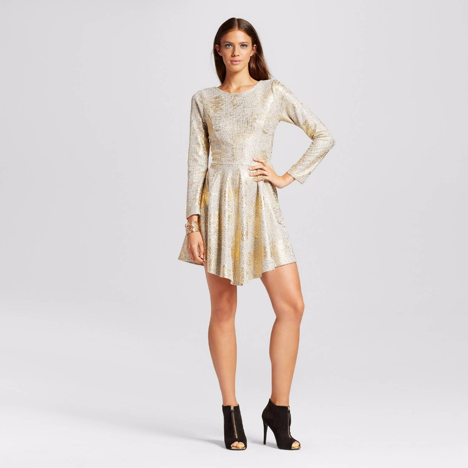 Target Women's Long Sleeve Foil Sparkle A-Line Dress