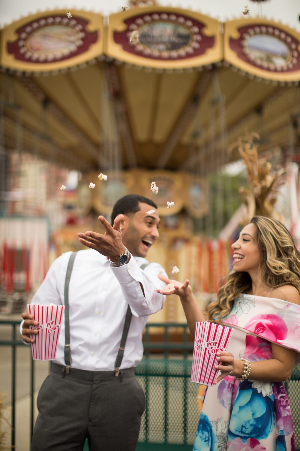 Fun and colorful Coney Island engagement