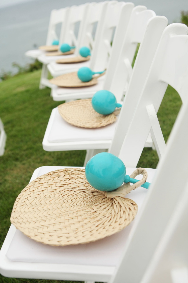 fans and maracas for wedding ceremony guests