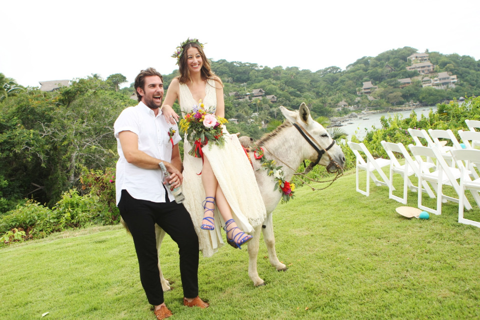cute couple and a tequila donkey