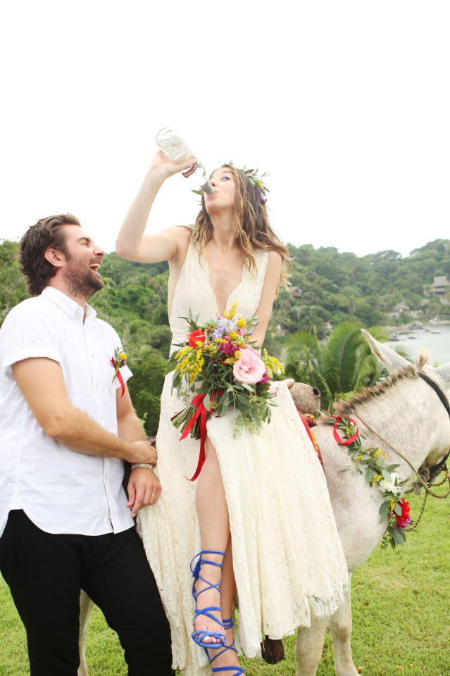 Shots! Shots! Shots! Of Tequila On A Donkey. This Couple Nailed It!