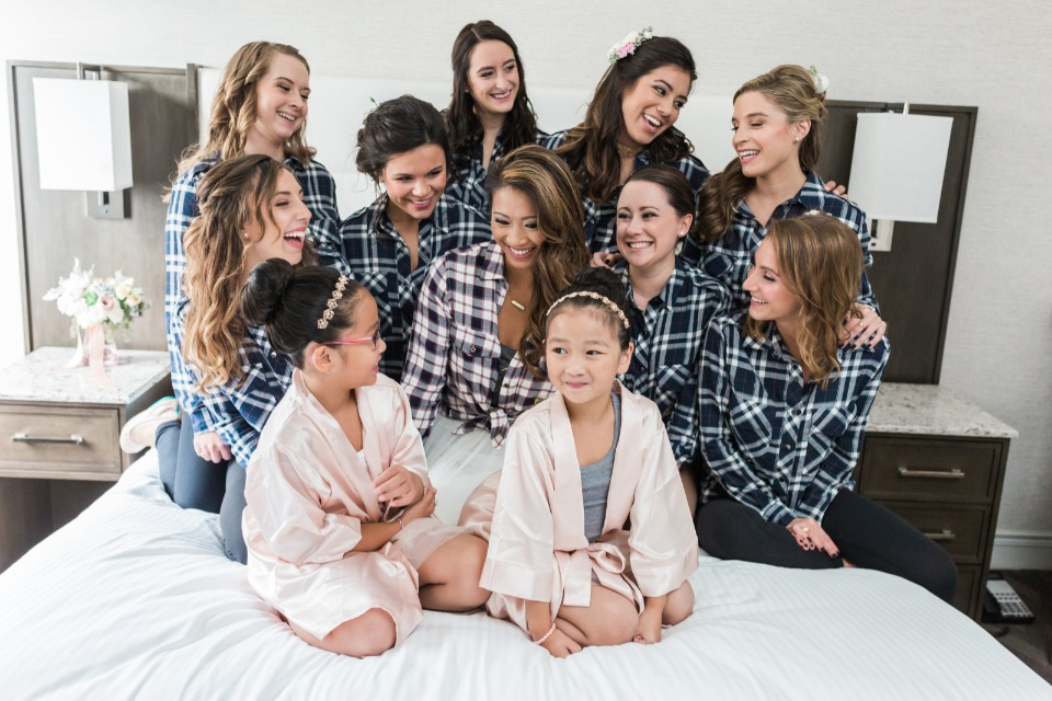 bridesmaids in custom flannel shirts