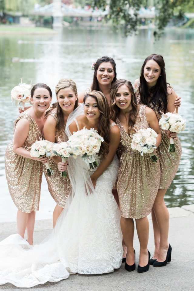 Bagdely Mischka gold sequin gowns from Rent the Runway