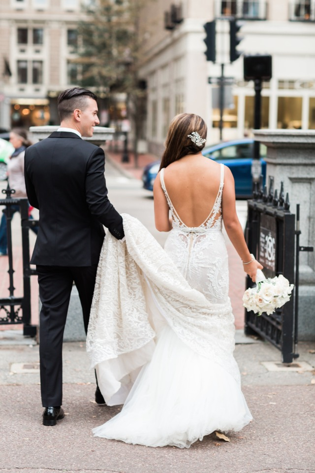 bride and groom on the streets of Boston