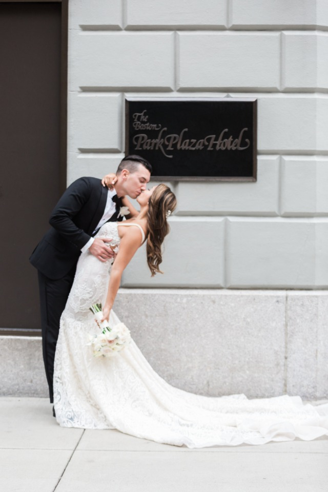 kiss in front of the Boston Park Plaza Hotel