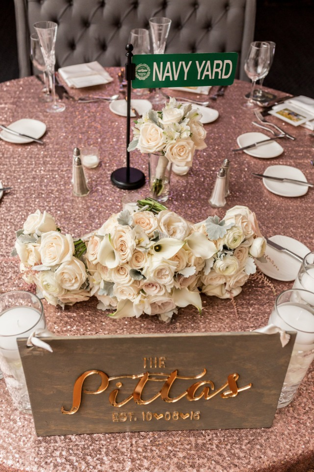 sequin wedding table linens and street sign table names