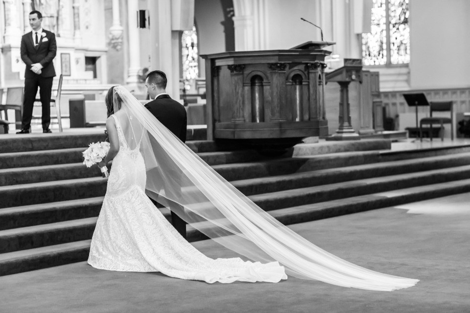 cathedral length wedding train and veil