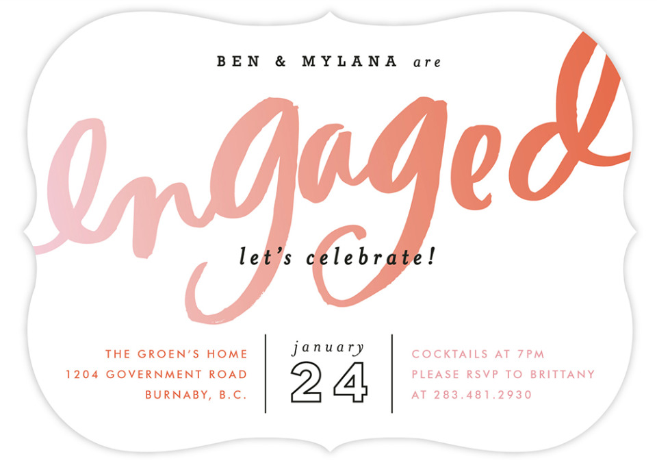 engagement party invite from Minted