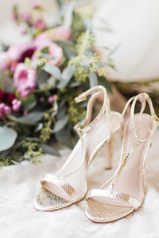strappy gold wedding shoes