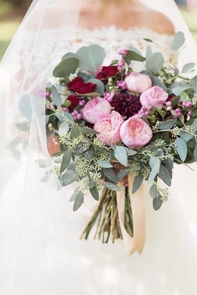 eucalyptus burgundy and pink bouquet