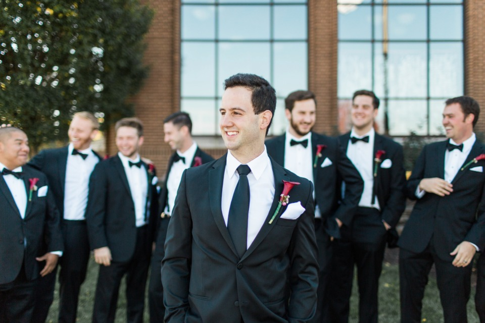 groom in classic black and white