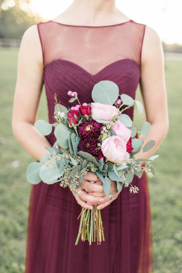 silver dollar eucalyptus pink red and burgundy bridesmaid bouquet