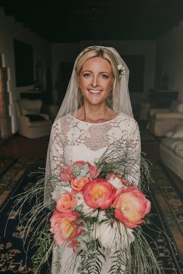 Pretty bridal look with lace gown