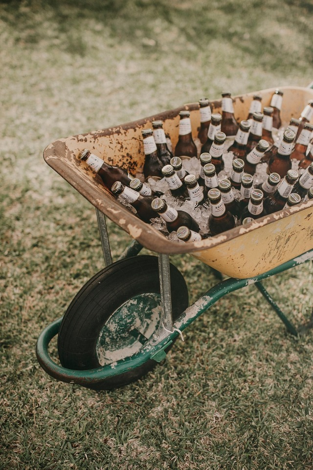 Wheelbarrow filled with beer