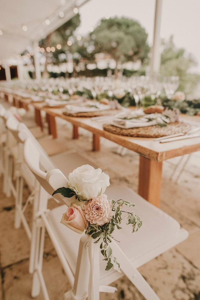 Chair florals for reception