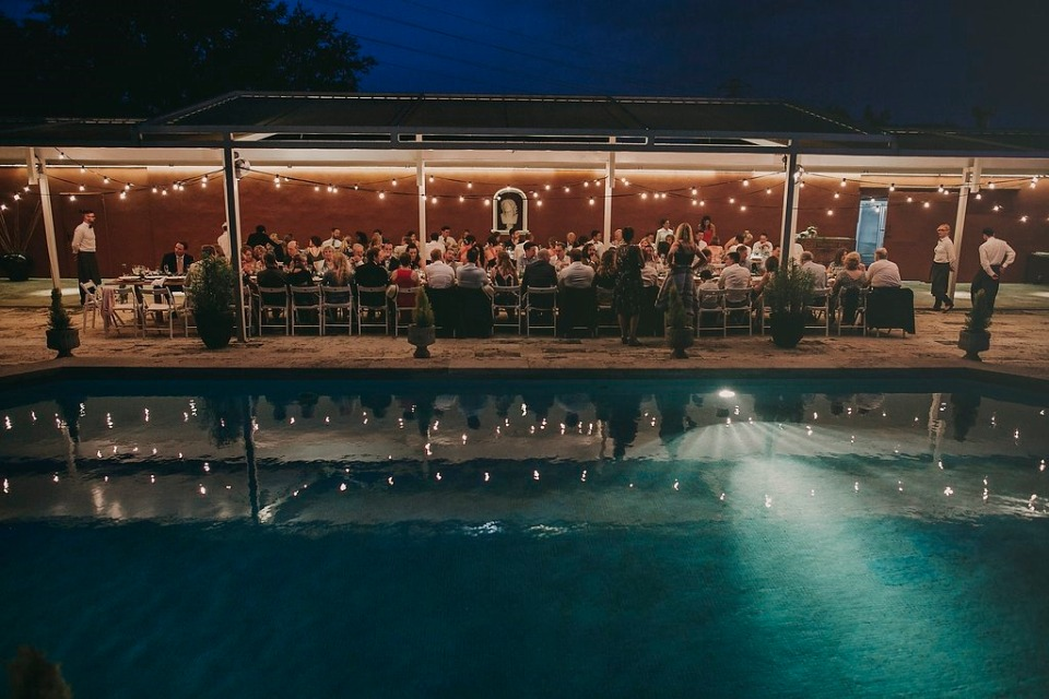 Poolside outdoor reception