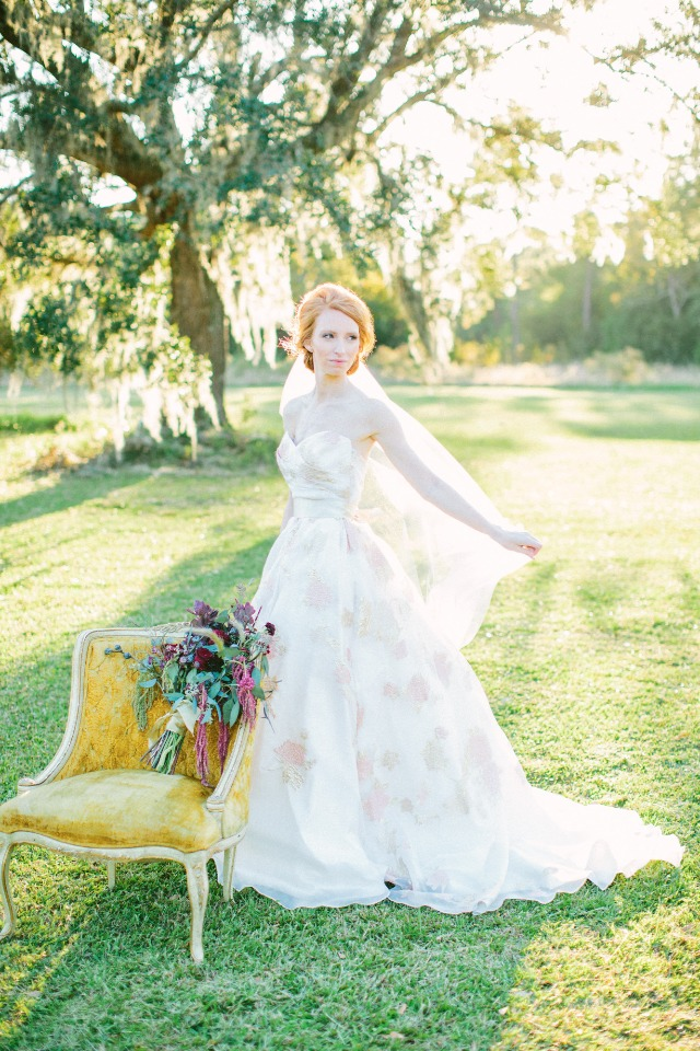 Floral watercolor print wedding gown