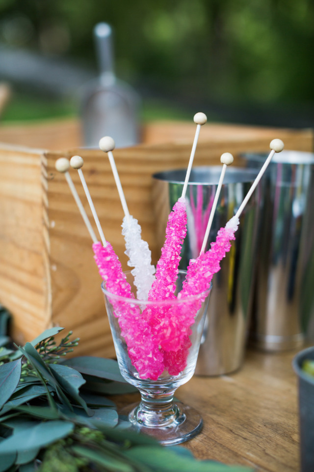 pink and white rock candy at wedding