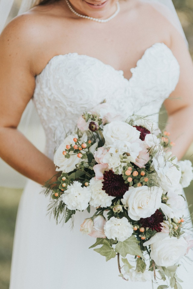 white pink and deep wine wedding bouquet