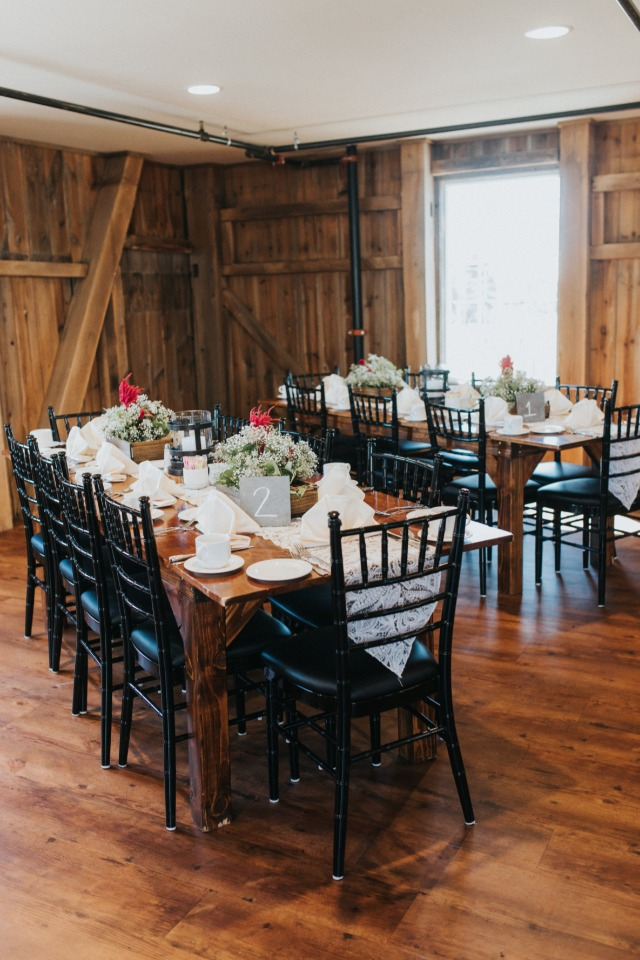 wedding reception in a rustic shabby chic style