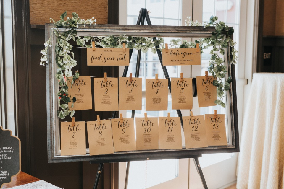 framed seating assignment display