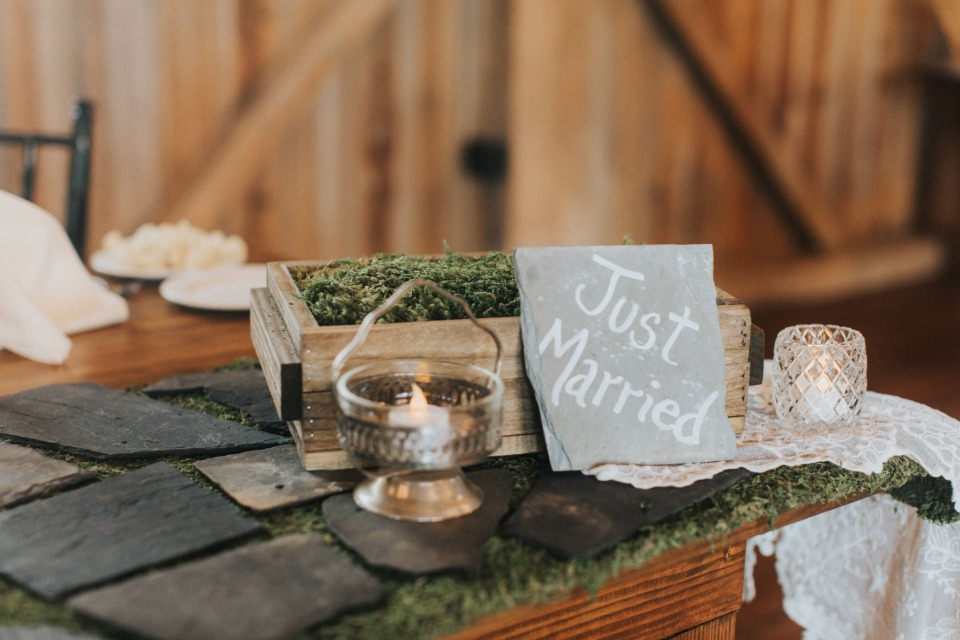 just married wedding table