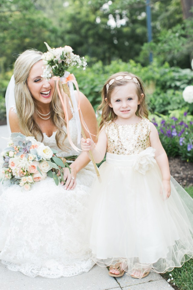 Sparkly gold flower girl dress