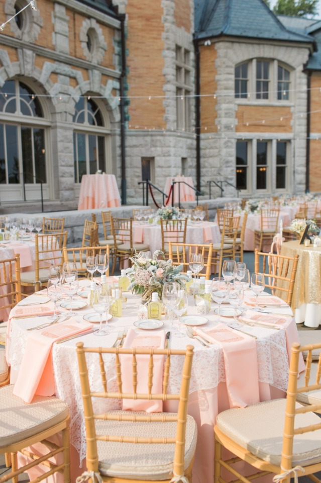 Blush outdoor reception decor