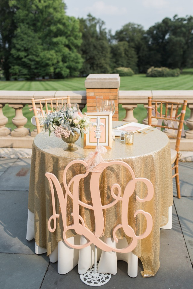 Sweetheart table with initials sign