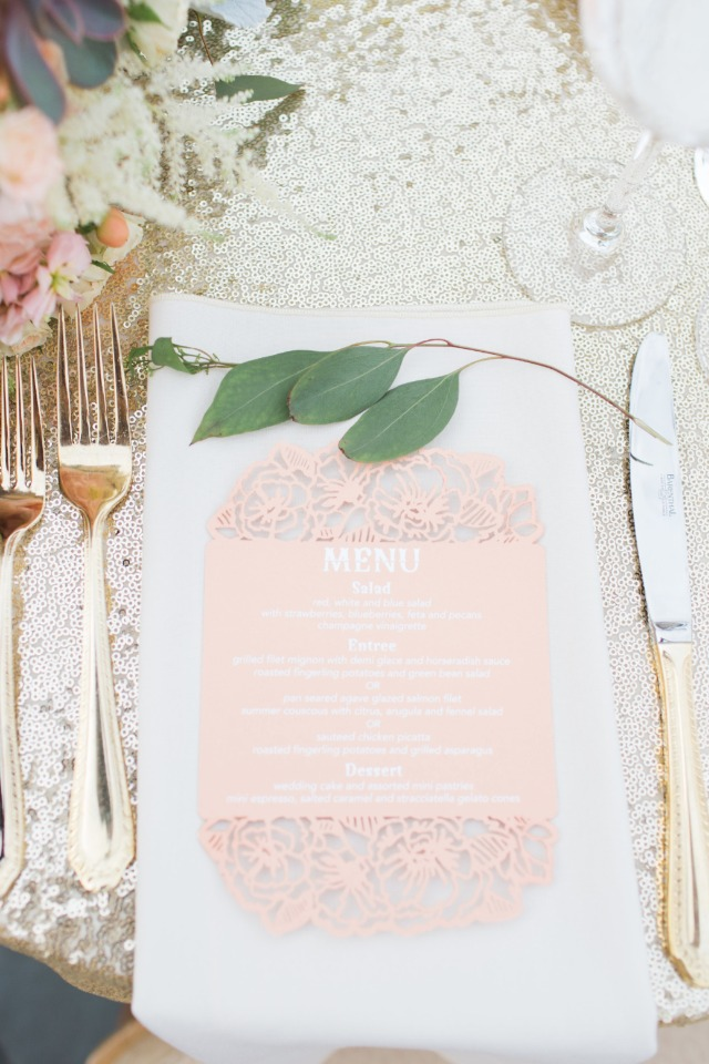 Laser cut wedding menu