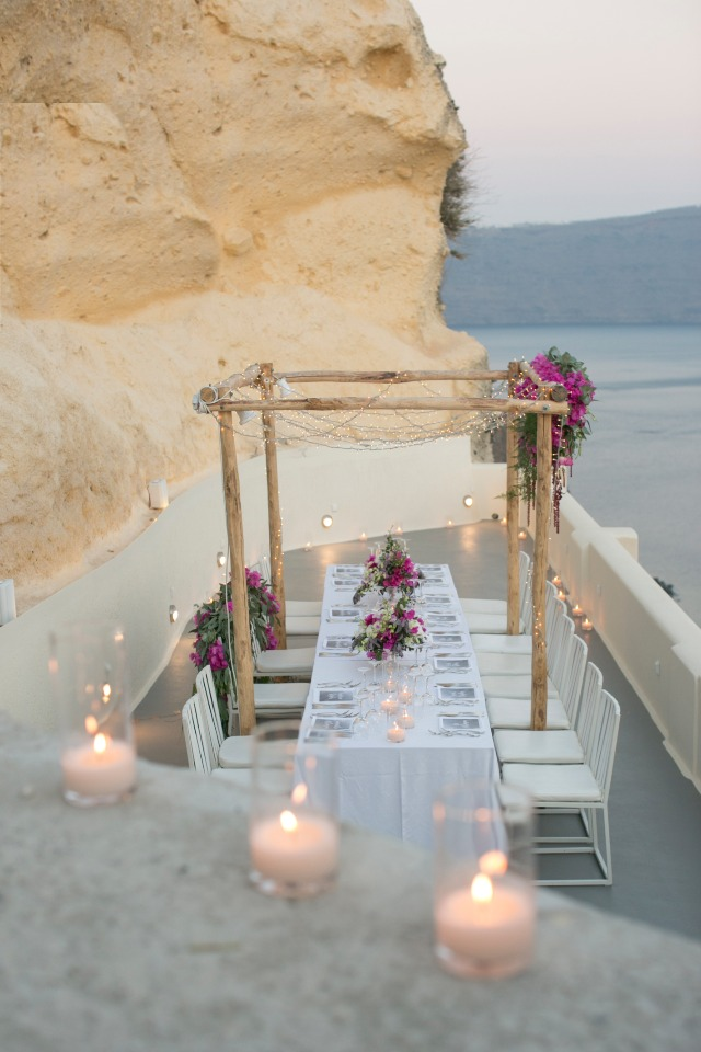 romantic patio reception in Greece