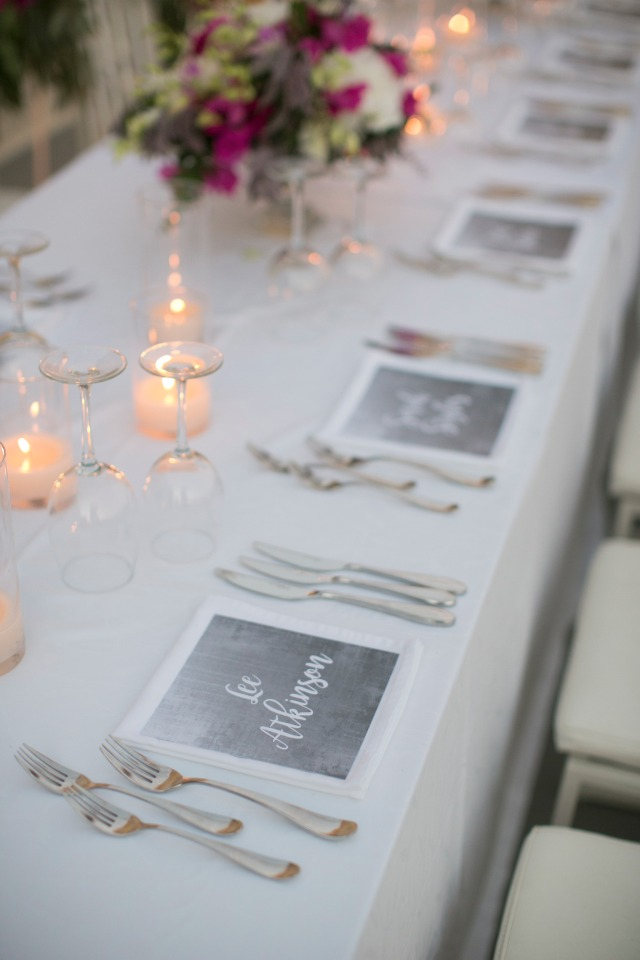 modern chic wedding reception table decor
