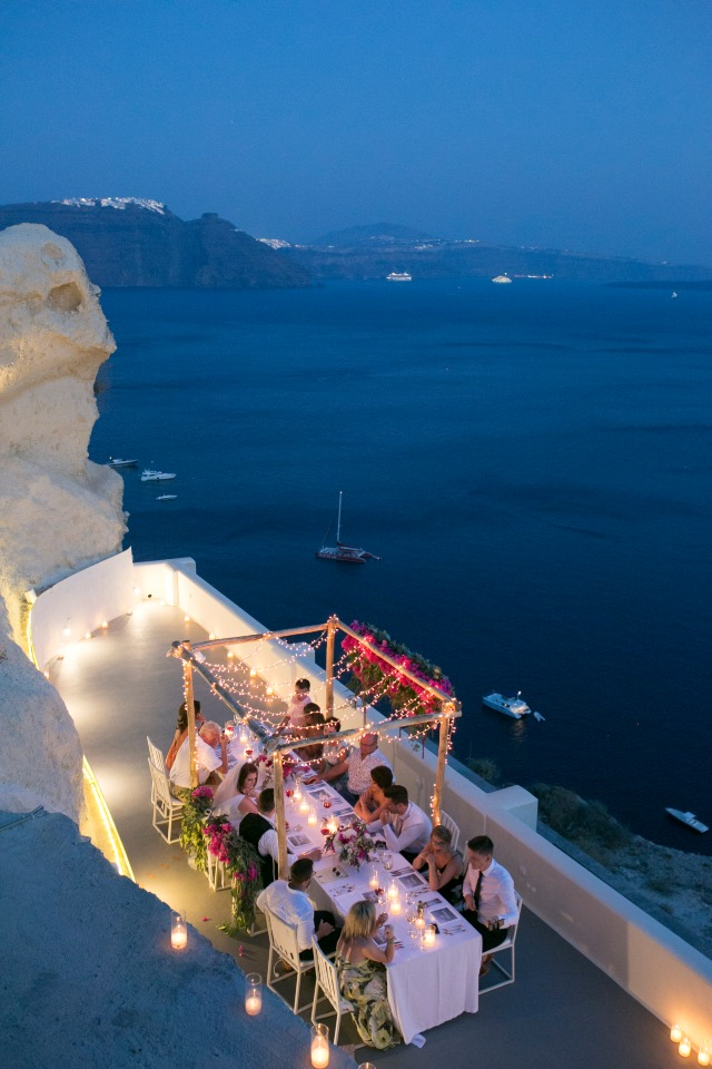 intimate reception dinner in Greece